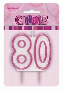 Pink 80th Birthday Candle