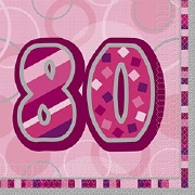 Pink 80th Birthday Napkins