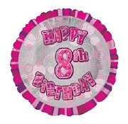 Pink 8th Birthday Balloon