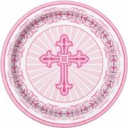 Pink Cross Dessert Plate