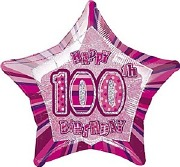 Pink Glitz 100th Balloon