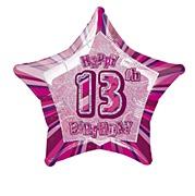 Pink Glitz 13th Balloon
