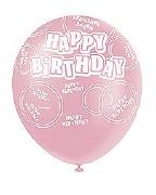 Pink Happy Birthday Balloons