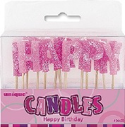 Pink Happy Birthday Candles
