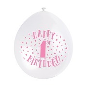 Pink & White 1st Balloons