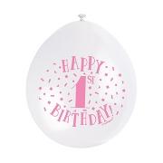 Pink & White 1st Balloons