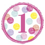 Pink 1st Dots Foil Balloon