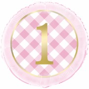 Pink Gingham 1st Foil Balloon