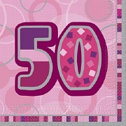 Pink 50th Birthday Napkins