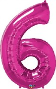 Pink Number 6 Balloon