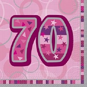 Pink 70th Birthday Napkins