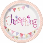 Pink Bunting Christening Plate