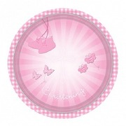 Pink Christening Plates