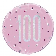 Pink Dot Glitz 100th Balloon