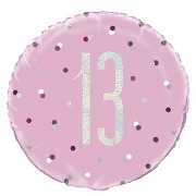 Pink Dot Glitz 13th Balloon