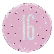 Pink Dot Glitz 16th Balloon