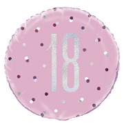 Pink Dot Glitz 18th Balloon