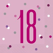Pink Dot Glitz 18th Napkins