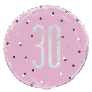 Pink Dot Glitz 30th Balloon