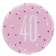 Pink Dot Glitz 40th Balloon