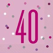 Pink Dot Glitz 40th Napkins