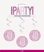 Pink Dots Glitz 40th Swirls
