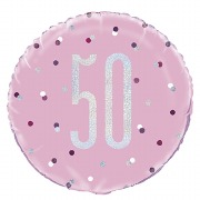 Pink Dot Glitz 50th Balloon