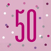 Pink Dot Glitz 50th Napkins
