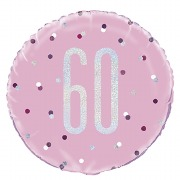 Pink Dot Glitz 60th Balloon