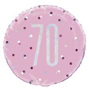 Pink Dots Glitz 70th Balloon