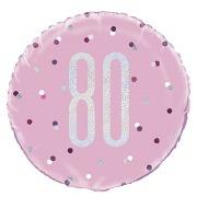 Pink Dots Glitz 80th Balloon