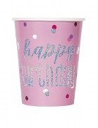 Pink Dot Glitz Birthday Cups