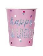 Pink Dot Glitz Birthday Cups