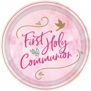 Pink Dove Communion Plates