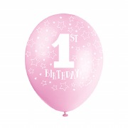 Pink 1st Birthday Balloons
