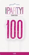 Pink Glitz 100th Candle