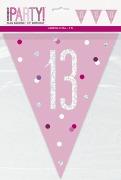 Pink Glitz 13th Bunting