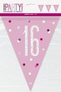 Pink Glitz 16th Bunting