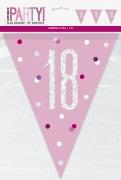 Pink Glitz 18th Bunting