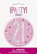 Pink Glitz 21st Badge