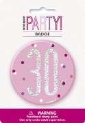 Pink Glitz 30th Badge
