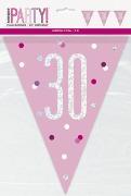 Pink Glitz 30th Bunting