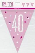 Pink Glitz 40th Bunting