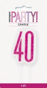Pink Glitz 40th Candle