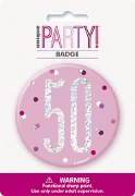 Pink Glitz 50th Badge