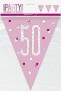 Pink Glitz 50th Bunting