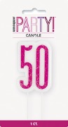 Pink Glitz 50th Candle