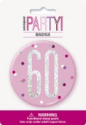 Pink Glitz 60th Badge