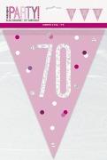 Pink Glitz 70th Bunting