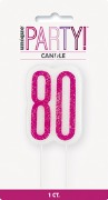 Pink Glitz 80th Candle